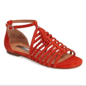Halogen Orange Suede Strappy Jolie Sandal NIB